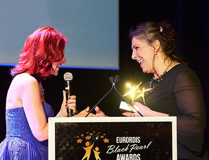 Claudia Crocione receiving Black Pearl Award
